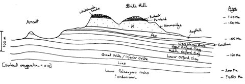 Sketch geology cross-section through Brill Hill