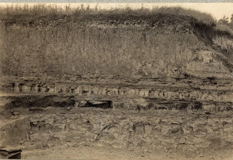 Purbeck Formation as seen in the Bugle Pit, Hartwell in the early 20th Century.