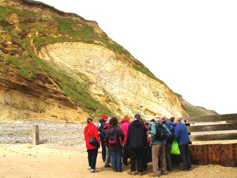 The group at Overstrand preparing to examine a Chalk Raft.