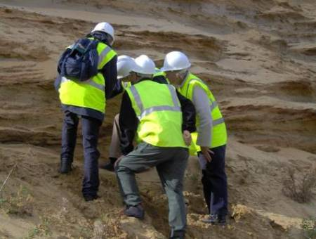 A section of Lower Greensand Formation being examined by BGG members.
