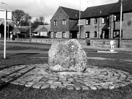 Puddingstone bolder on display at the roundabout in Princes Risborough.
