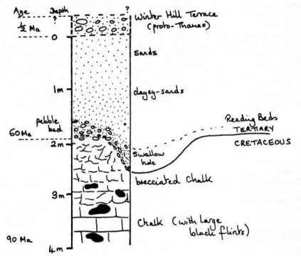 The geological section as deduced by a walk around Northmoor Hill.