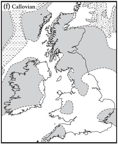 Palaeogeography of Britain during the deposition of the Oxford Clay.